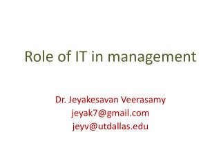 Role of IT in management