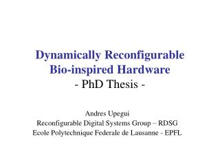 Dynamically Reconfigurable  Bio-inspired Hardware - PhD Thesis -
