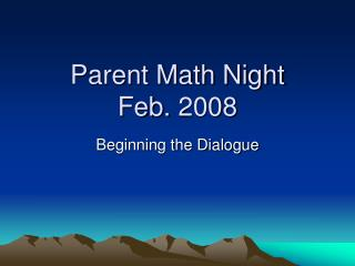Parent Math Night Feb. 2008
