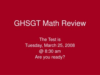 GHSGT Math Review
