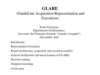 GLARE (GuideLine Acquisition Representation and Execution)
