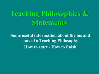 Teaching Philosophies & Statements
