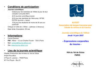 Conditions de participation : Journée scientifique: