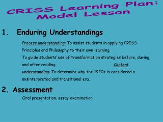 CRISS Learning Plan: Model Lesson