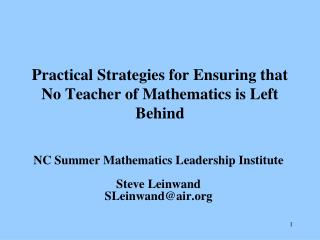 Practical Strategies for Ensuring that No Teacher of Mathematics is Left Behind