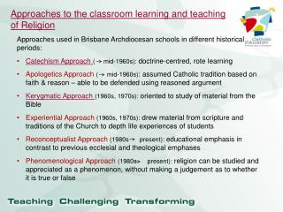 Approaches to the classroom learning and teaching of Religion
