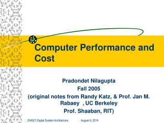 Computer Performance and Cost