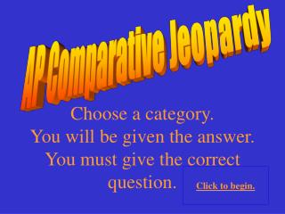 AP Comparative Jeopardy
