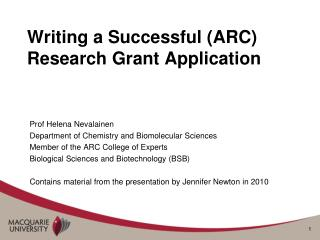 Writing a Successful (ARC) Research Grant Application