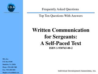 Written Communication for Sergeants:   A Self-Paced Text ISBN 1-930765-00-2