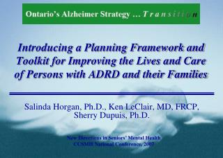 Introducing a Planning Framework and Toolkit for Improving the Lives and Care of Persons with ADRD and their Families