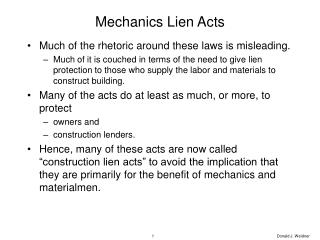 Mechanics Lien Acts