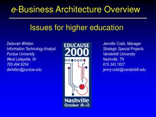 e -Business Architecture Overview