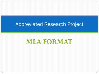Abbreviated Research Project
