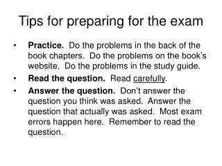 Tips for preparing for the exam