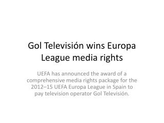 Gol Televisión  wins  Europa  League media rights