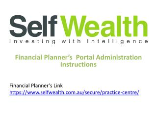 Financial Planner 's   Portal Administration Instructions Financial Planner's  Link