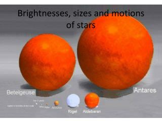 Brightnesses , sizes and motions of stars
