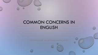 Common concerns in english