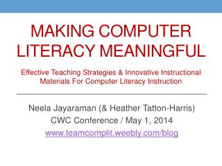 Making Computer Literacy Meaningful