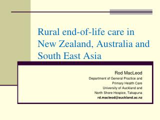 Rural end-of-life care in New Zealand, Australia and South East Asia