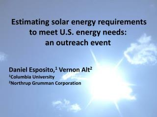 Estimating solar energy requirements to meet U.S. energy needs:  an outreach event