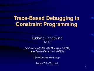 Trace-Based Debugging in Constraint Programming