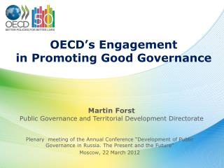 OECD's Engagement  in Promoting Good Governance