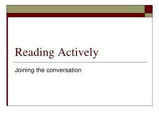Reading Actively