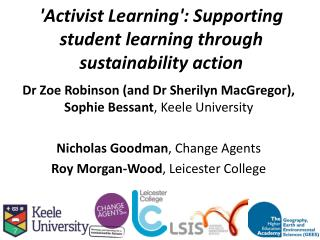 'Activist Learning': Supporting student learning through sustainability action