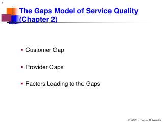 The Gaps Model of Service Quality Chapter 2