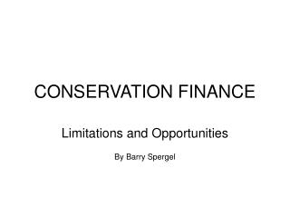 CONSERVATION FINANCE