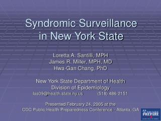 Syndromic Surveillance in New York State