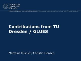 Contributions from  TU Dresden / GLUES