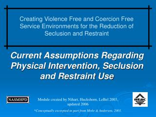 Current Assumptions Regarding Physical Intervention, Seclusion and Restraint Use