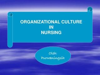 ORGANIZATIONAL CULTURE IN NURSING