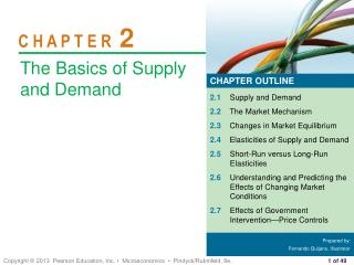 2.1 	Supply and  Demand 2.2 	The Market  Mechanism 2.3 	Changes in  Market Equilibrium