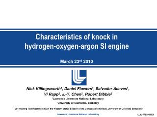 Characteristics of knock in hydrogen-oxygen-argon SI engine March 23 rd  2010