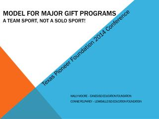 Model for Major Gift Programs A Team Sport, Not A Solo Sport!