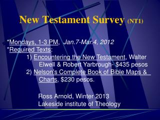 New Testament Survey  (NT1)