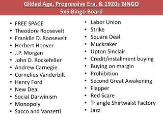 Gilded Age, Progressive Era , & 1920s BINGO 5x5 Bingo Board