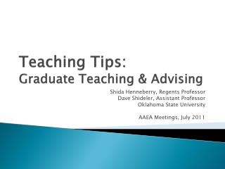 Teaching Tips:  Graduate Teaching & Advising