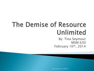 The Demise of Resource Unlimited