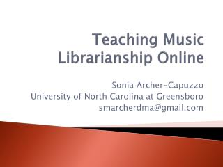 Teaching Music Librarianship Online