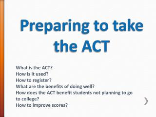 Preparing to take the ACT
