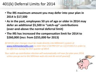 401(k) Deferral Limits for 2014