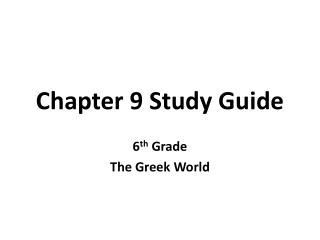 Chapter 9 Study Guide