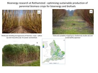 Yield and suitability mapping (c),  biodiversity  studies (d) and sustainability  appraisal