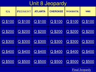 Unit  8  Jeopardy