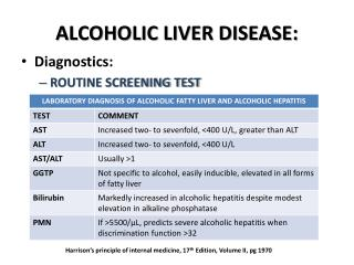 ALCOHOLIC LIVER DISEASE: